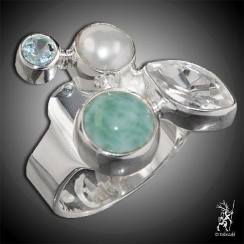LARIMAR PERLE TOPAS weiss/blau Echtsilber Ring
