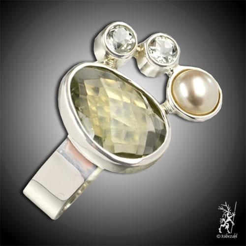 PRASIOLITH TOPAS PERLE Design Echtsilber Ring