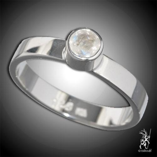 LABRADORIT weiss ca 6 mm facettiert Design Echtsilber Ring