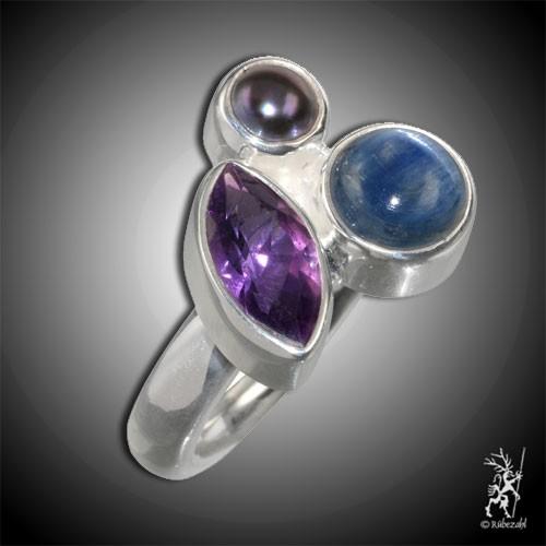 AMETHYST DISTHEN PERLE DESIGN Echtsilber Ring