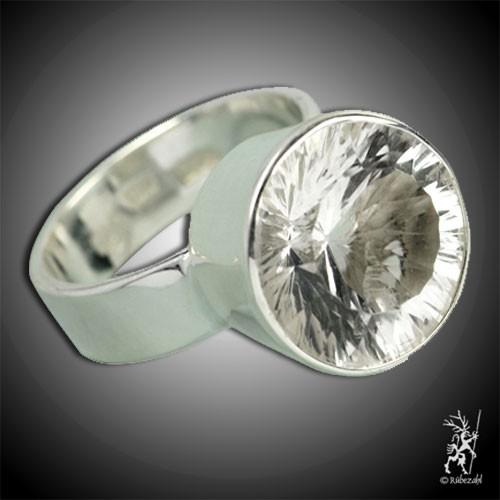 BERGKRISTALL facettiert Design Echtsilber Ring