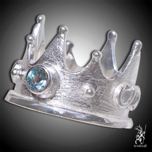 TOPAS blau Krone Design Echtsilber Ring