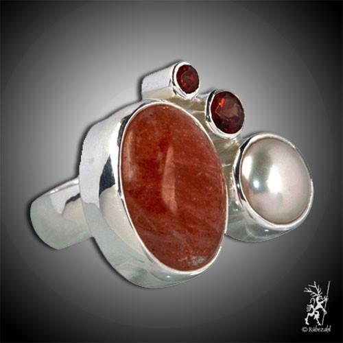SONNENSTEIN GRANAT PERLE Design Echtsilber Ring