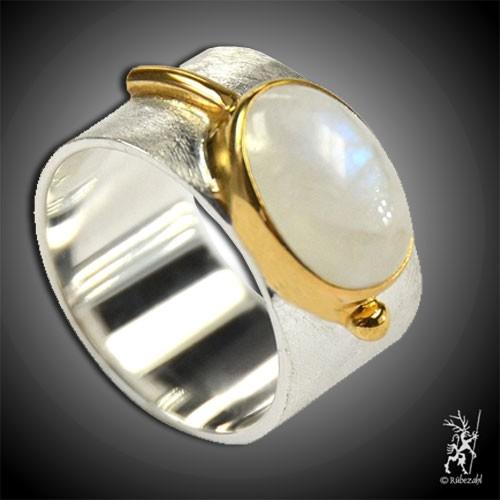 LABRADORIT weiss oval Design Echtsilber Ring