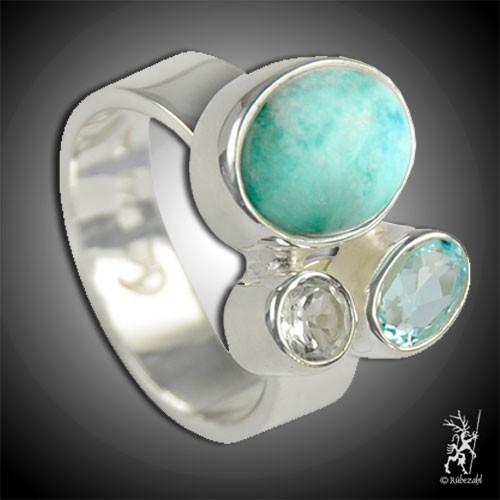 LARIMAR TOPAS weiss/blau Design Echtsilber Ring