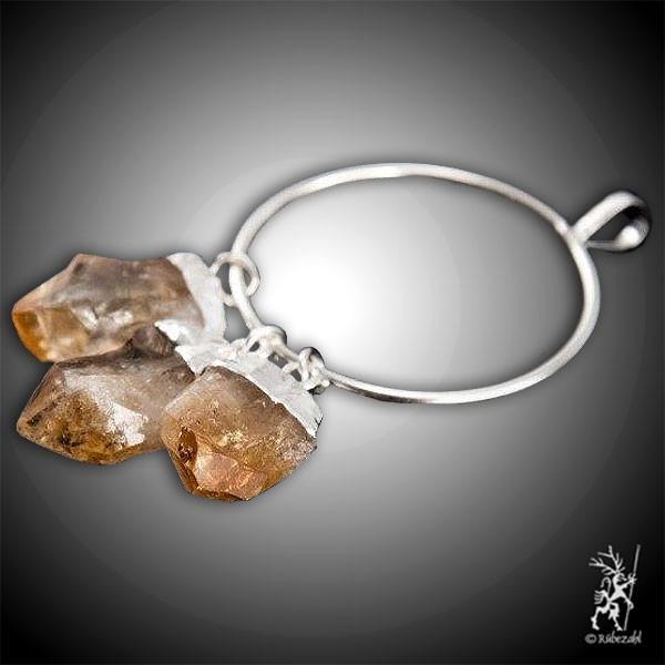 ZITRIN Naturkristall 3er Anhänger am Ring