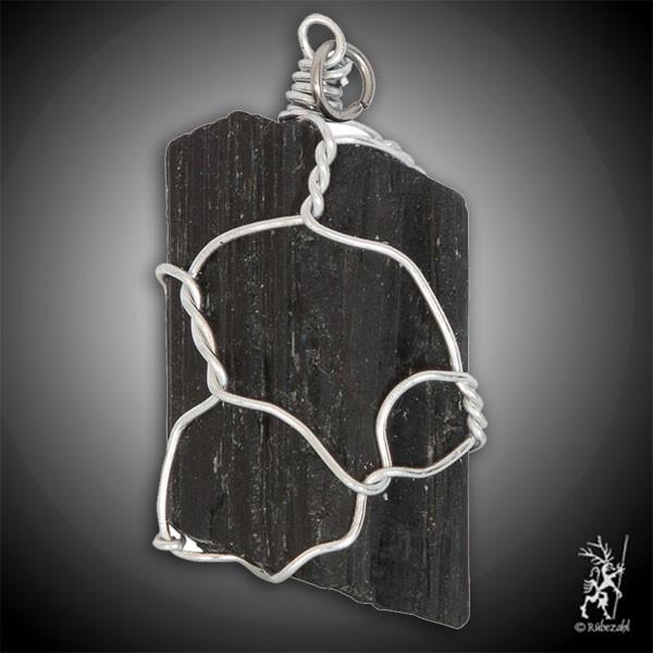 TURMALIN schwarz Kristall in Silberdraht gefasst Anhänger