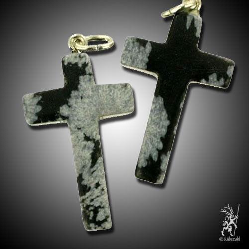 SCHNEEFLOCKEN OBSIDIAN Kreuz Anhänger