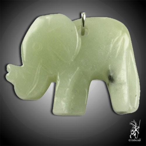 EDELSERPENTIN (China Jade) Elefant Schlüsselanhänger