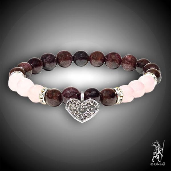 Granat / Rosenquarz mit Herz Armband