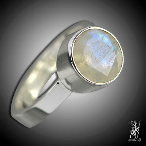 LABRADORIT weiss ca 9 mm facettiert Design Echtsilber Ring