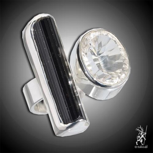 TURMALIN schwarz BERGKRISTALL Echtsilber Ring