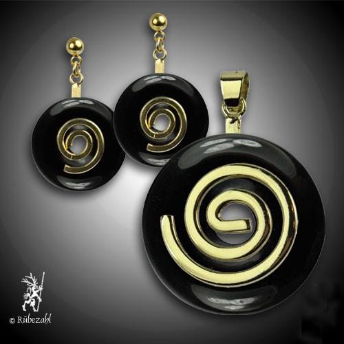 ONYX schwarz Donut Anhänger und Ohrstecker SET vergoldet