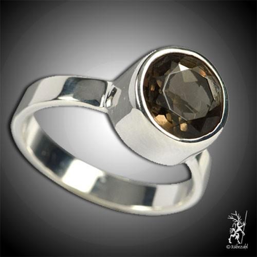 RAUCHQUARZ ca 10 mm face. Design Echtsilber Ring