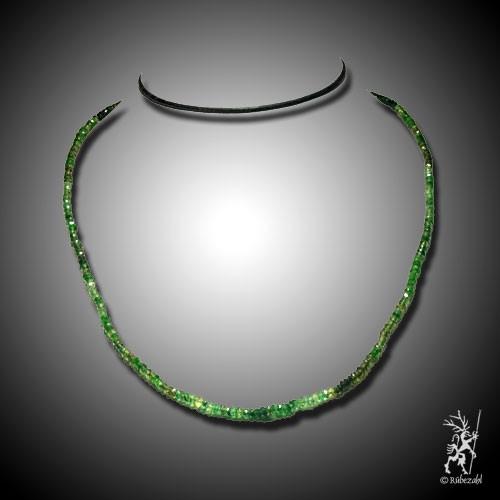 TURMALIN grün facettierte Rondell Kette 40 cm