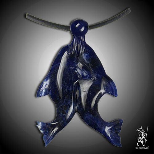 SODALITH Delfinpaar Anhänger doppeltes XXL Glück