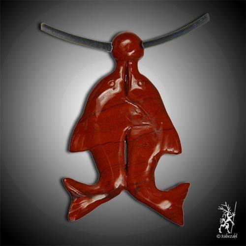JASPIS rot Delfinpaar Anhänger doppeltes XXL Glück