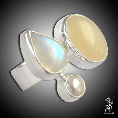 MONDSTEIN LABRADORIT PERLE Design Echtsilber Ring
