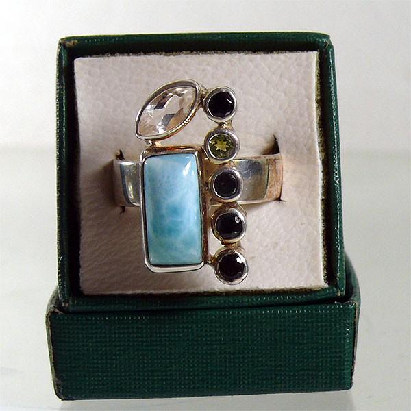 LARIMAR SPINELL PERIDOT TOPAS Echtsilber Ring Gr. 55/17,5
