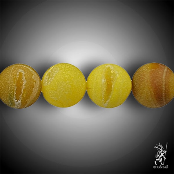 ACHAT Schlangenachat gelb 16 mm matt Kugel Strang 40 cm