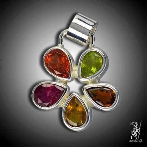 TURMALIN Multicolor Design Echtsilber Anhänger
