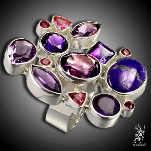 SUGILITH AMETHYST TURMALIN Design Echtsilber Ring