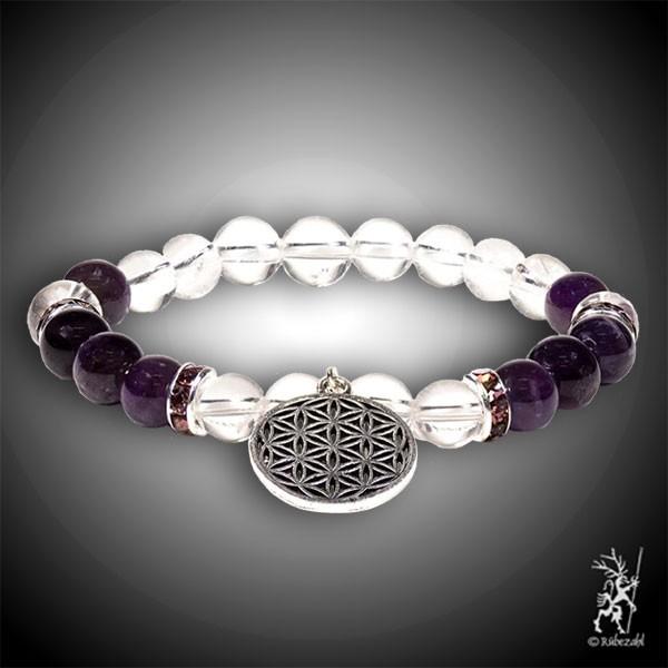 Bergkristall / Amethyst mit Blume des Lebens Armband