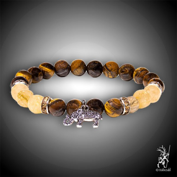 Tigerauge / Rutilquarz mit Elefant Armband