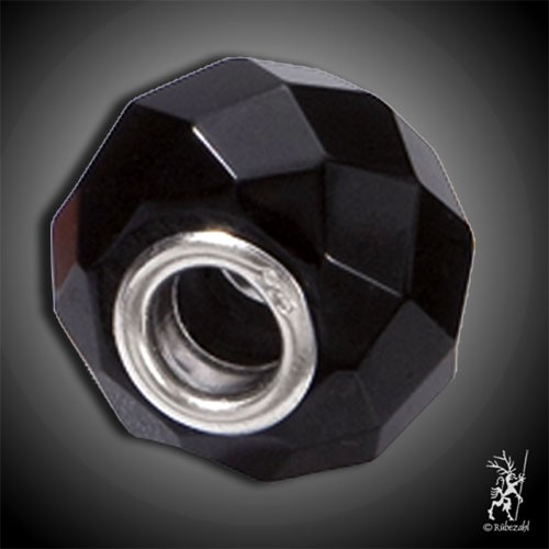 Bead ONYX facettiert Button