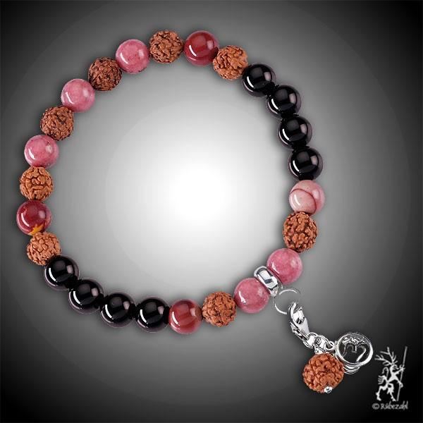 HEILUNG SPIRIT MALA Mookait, Obsidian, Rhodonit Echtsilber Armband