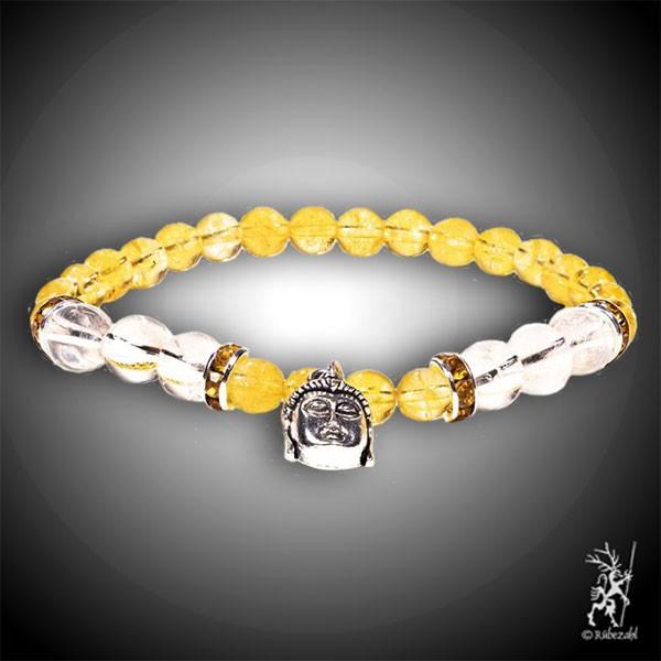 Zitrin / Bergkristall mit Buddha Armband