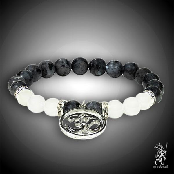 Labradorit / Achat weiß mit Oom Armband