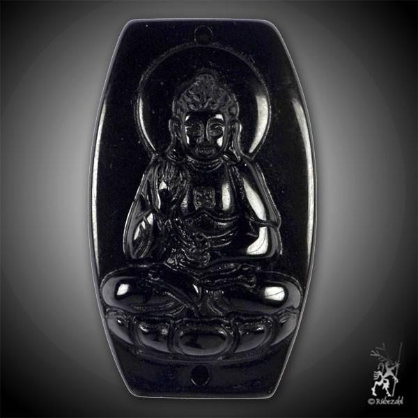 OBSIDIAN (schwarz) Medizin Buddha Anhänger gebohrt