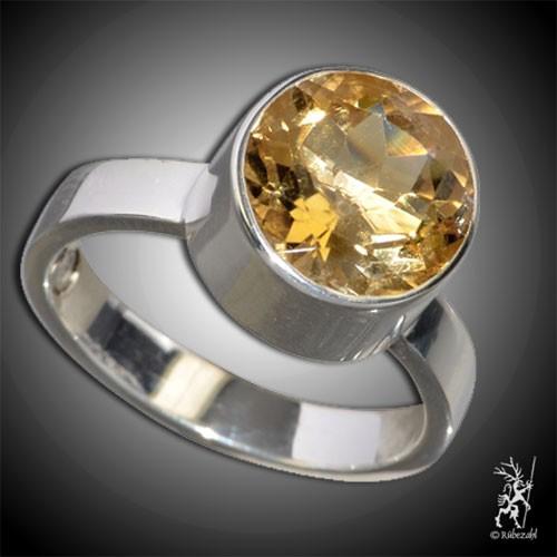 ZITRIN ca. 10 mm face. Design Echtsilber Ring