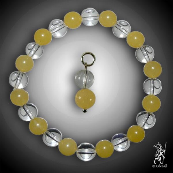 FROHSINN Bodyresonanz Set © (Calcit gelb, Bergkristall)