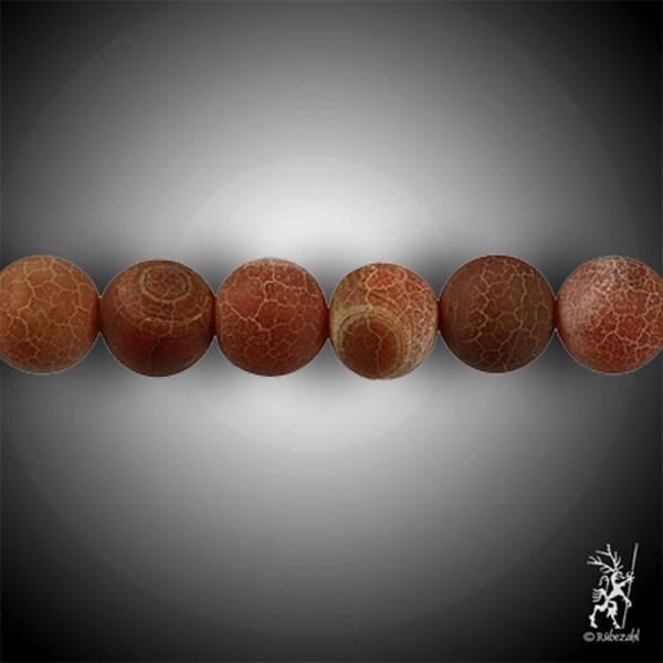 ACHAT Schlangenachat orange 12 mm matt Kugel Strang 40 cm