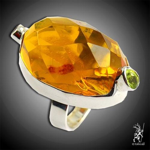 BERNSTEIN PERIDOT GRANAT Design Echtsilber Ring