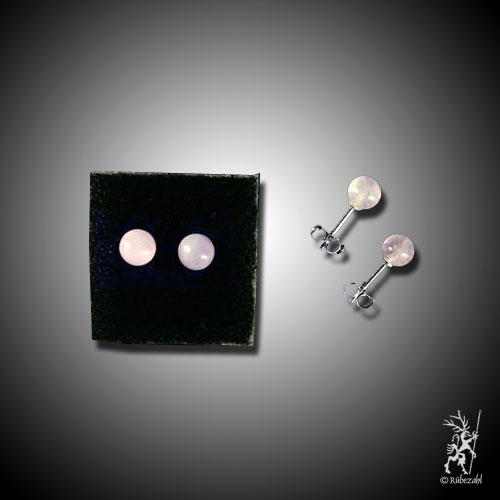 rosenquarz cabochon 6 mm echtsilber ohrstecker r bezahl. Black Bedroom Furniture Sets. Home Design Ideas