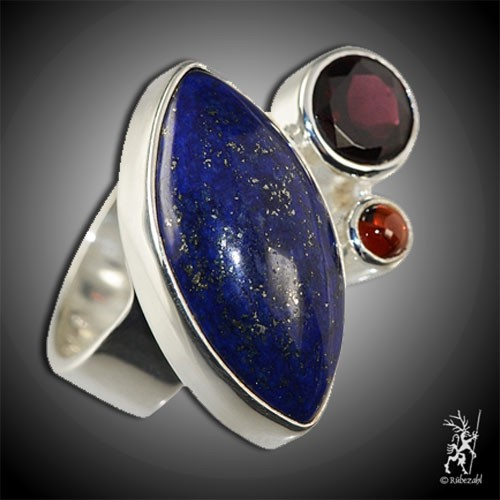 LAPISLAZULI GRANAT Design Echtsilber Ring