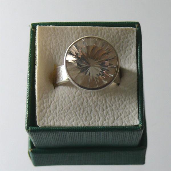 BERGKRISTALL facettiert Design Echtsilber Ring Gr. 53/17