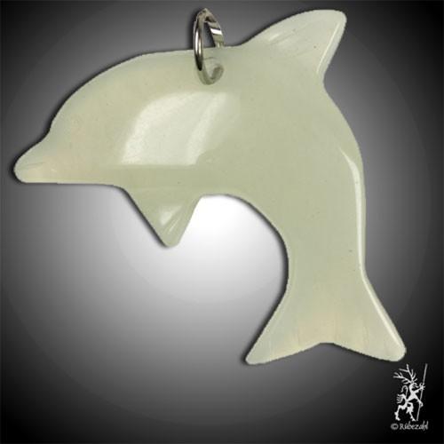 EDELSERPENTIN (China Jade) Delfin Schlüsselanhänger