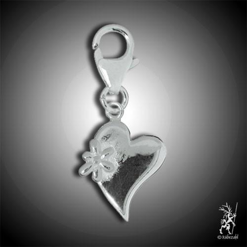 Charm Herz mit Blüte