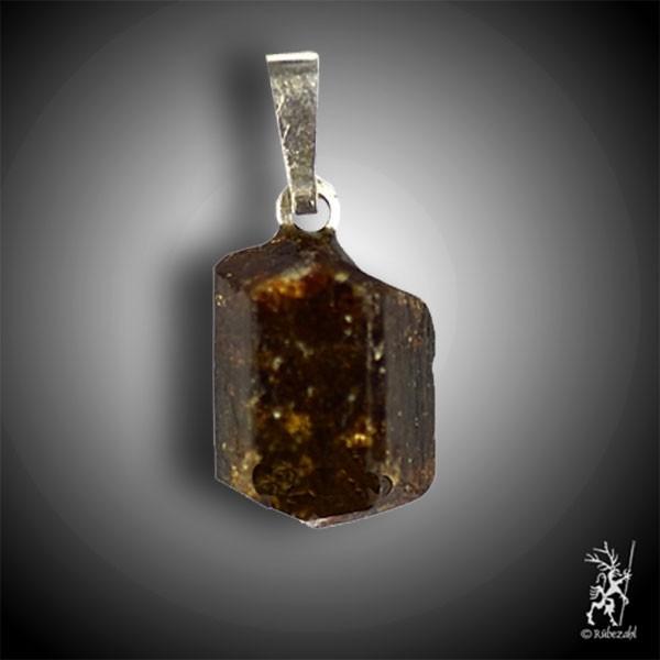 TURMALIN braun (DRAVIT) Kristall Anh. geol.