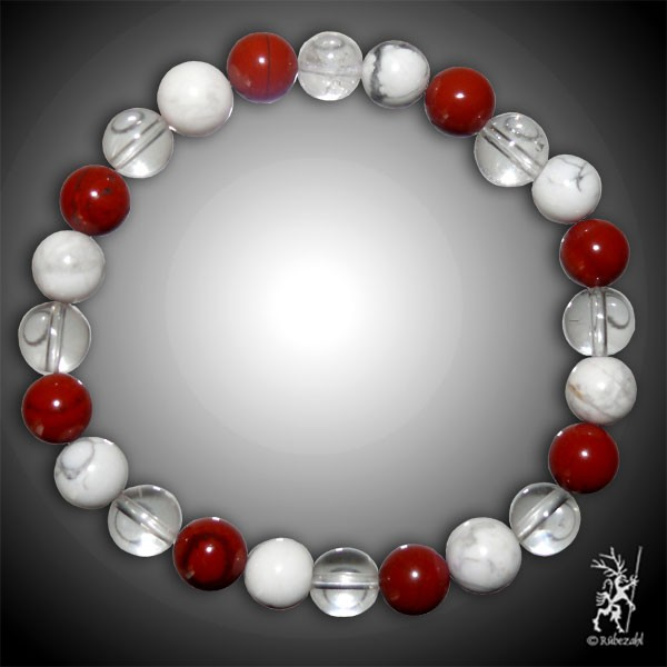 SCHLANK UND VITAL Bodyresonanz Armband © (Magnesit, Jaspis rot, Bergkristall)
