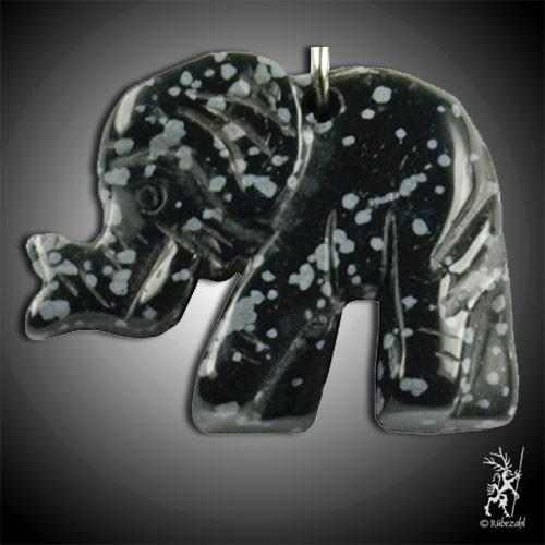 SCHNEEFLOCKEN OBSIDIAN Elefant Schlüsselanhänger