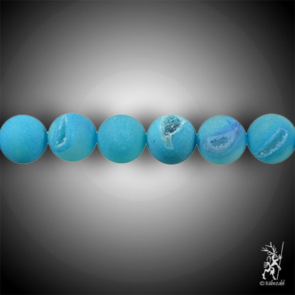 ACHAT Schlangenachat blau 16 mm matt Kugel Strang 40 cm