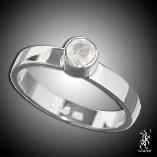 LABRADORIT weiss ca 4 mm facettiert Design Echtsilber Ring