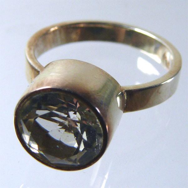 TOPAS weiss ca. 8 mm face. Design Echtsilber Ring Gr. 53/17