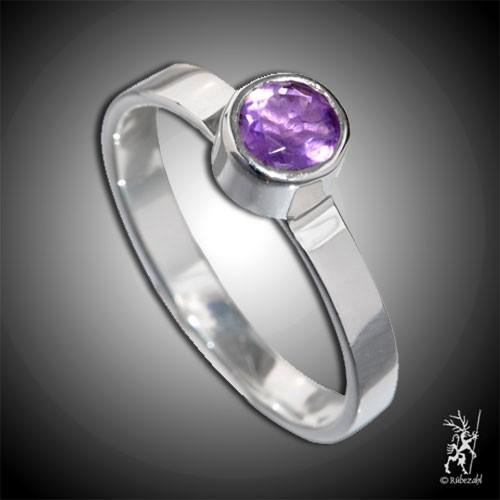 AMETHYST ca 4 mm facettiert Design Echtsilber Ring