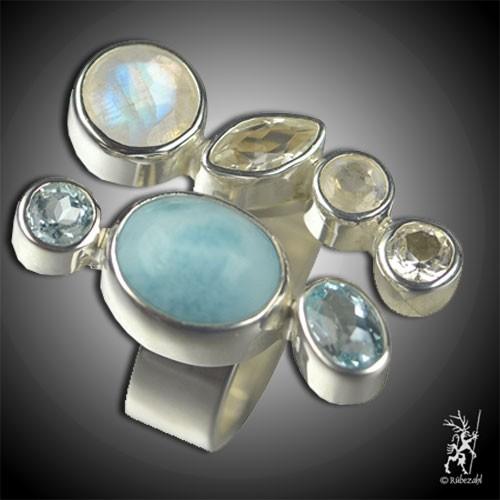 LARIMAR LABRADORIT TOPAS weiß/blau Echtsilber Ring